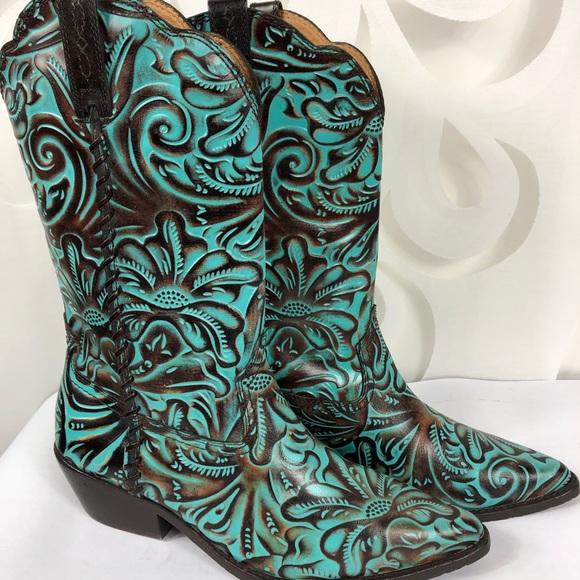 b93801d8345 Patricia Nash Bergamo Turquoise Western Boot 10